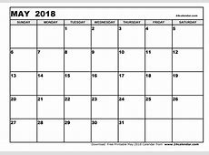 Blank May 2018 Calendar in Printable format
