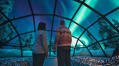 hotels to see northern lights snow igloos in finland watch the northern lights
