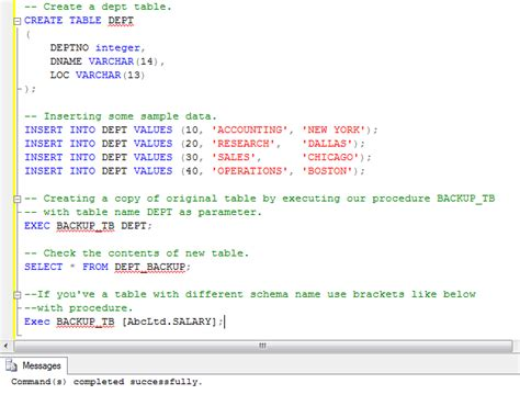 sql insert into new table sql server copy one table to another using stored procedure
