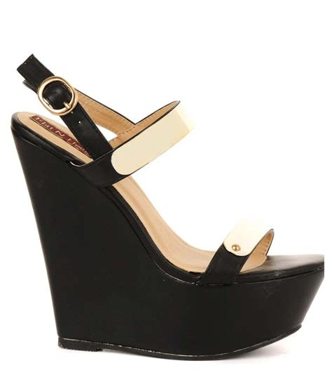 Gosh Flat With High Wedges flat n heels black faux leather open toe high heel wedges