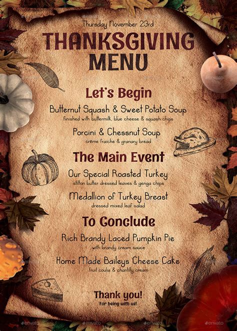 selling thanksgiving restaurant menu templates