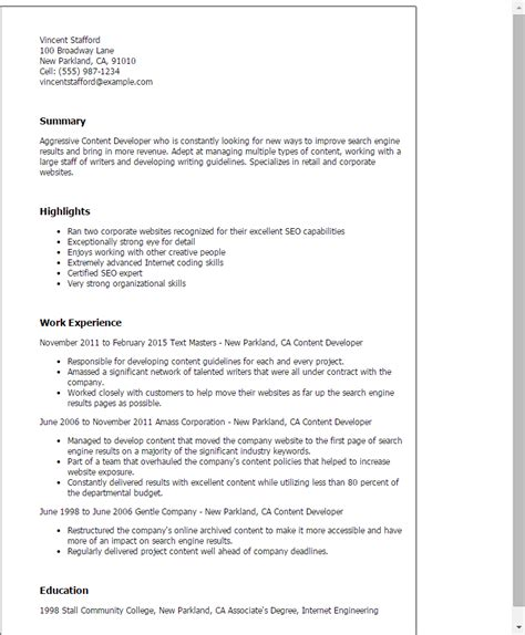 Resume Content by Professional Content Developer Templates To Showcase Your