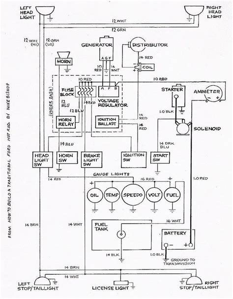 basic ford rod wiring diagram rod car and truck tech cars ford kit cars