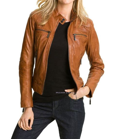 handmade women brown leather jacket womens leather by
