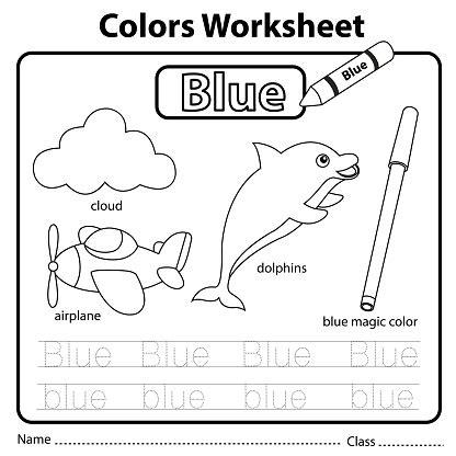 illustrator  color worksheet blue stock illustration