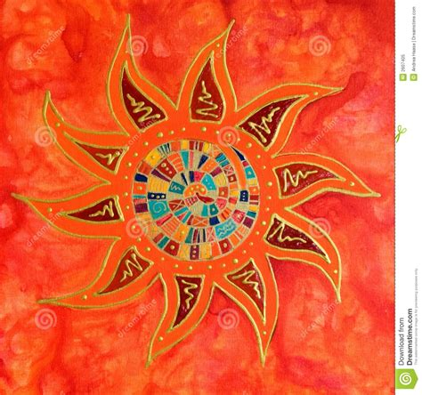 Abstract Colorful Sun Painting Royalty Free Stock Photo