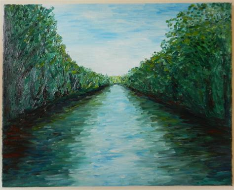 Modern Fine Art Abstract Impressionist River Canal