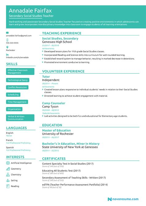 teacher resume   guide