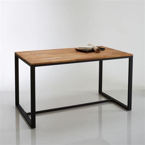 table cuisine la redoute table 4 couverts chêne et acier hiba naturel la redoute