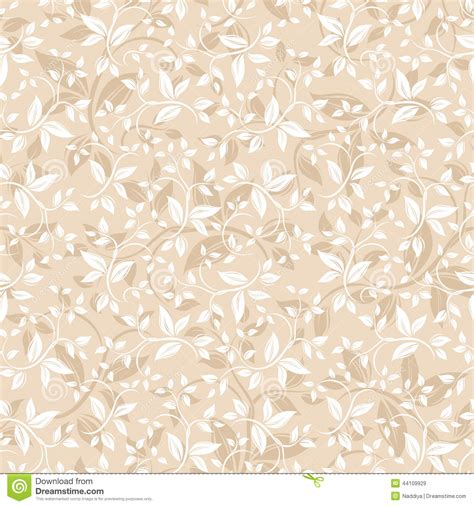 seamless beige floral pattern vector illustration stock
