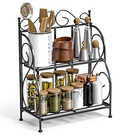 Kitchen Counter Spice Rack by F Color Bathroom Countertop Organizer 2 Tier Collapsible