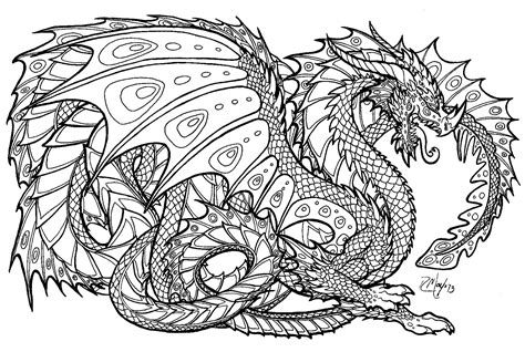 printable coloring pages  adults advanced dragons