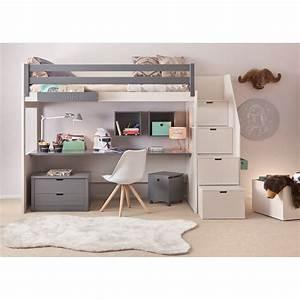 Chambre complete pour enfants ados avec lit mezzanine for Amenagement chambre ado avec futon laine