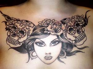 Grey Ink Sugar Skulls And Girl Head Tattoo On Chest ...