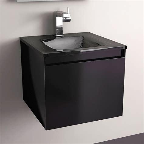meuble salle de bain noir 40 cm 1 tiroir plan verre glass