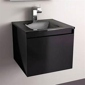 meuble salle de bain noir 40 cm 1 tiroir plan verre glass With salle de bain design avec evier 40 cm