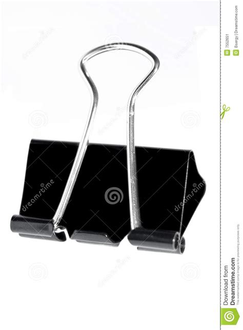 Black Clip Black Metal Paper Clip Stock Image Image 7552651