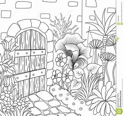 Garden Coloring Simple Illustration Pots Vector Line