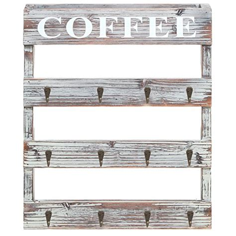 Personalize your coffee cup gift card holder. Country Rustic Style Brown Wood 12 Hook Wall Mounted ...