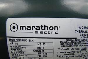 Marathon Electric Motor 1 2 Hp 200 460v 5k49pn4018cx