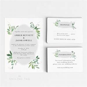 wedding invitation printable set watercolor botanical With size of rsvp cards in wedding invitations