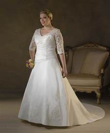 wedding dress sleeves lace plus size 3 4 lace sleeves wedding dress gown