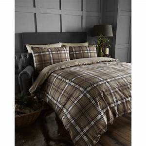 bedmaker, arran, natural, tartan, check, brushed, cotton, duvet