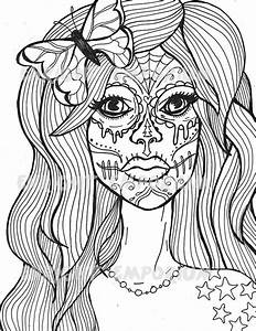 Sugar Skull Girl Coloring Page Download Day Of The Dead ...