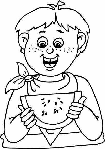 Coloring Summer Pages Watermelon Water Drinking Colouring
