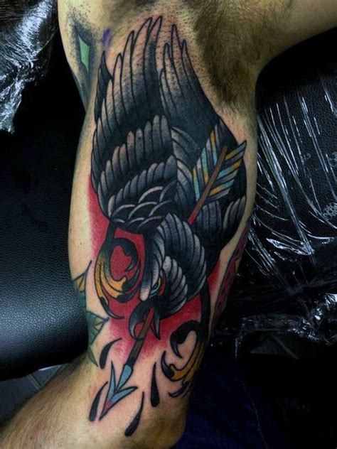 traditional crow tattoo designs  men  school birds
