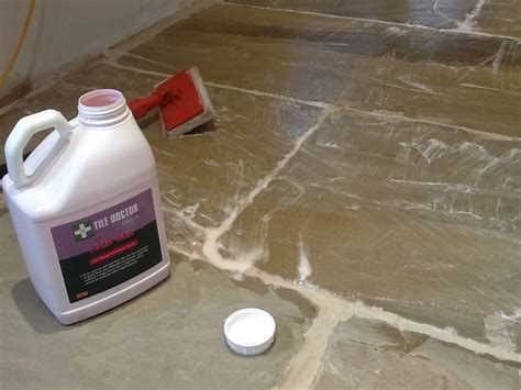 Removing Grout From Porcelain Tile by Removing Grout Left From Sandstone After Tiling