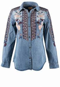 Driftwood Embroidered Denim Snap Shirt Pinto Ranch