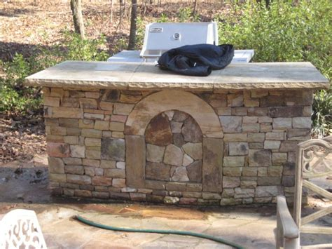 Outdoor Stacked Stone Bar Island Outdoor Kitchens