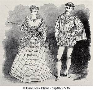 Clipart of Aristocratic costumes - Old illustration of ...