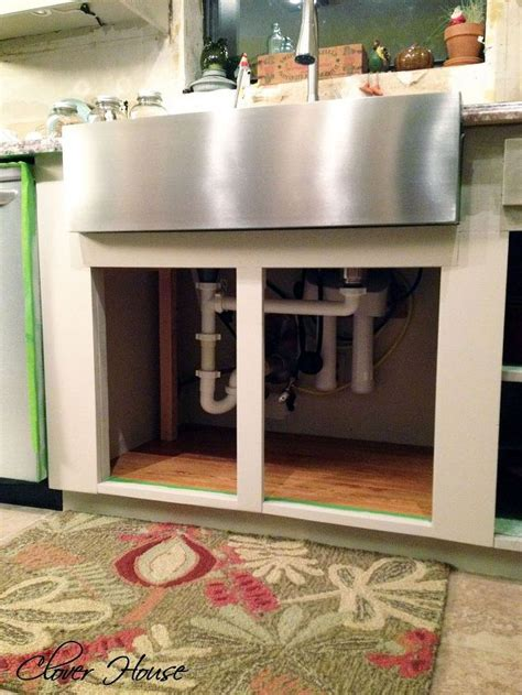 how to install a farmhouse sink in existing cabinets installing a farmhouse sink hometalk