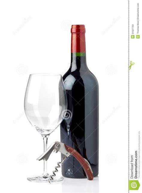 le avec bouteille en verre verre et bouteille de vin avec le tire bouchon photos