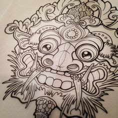 barong traditional ritual balinese mask vector outline