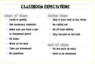Middle School Classroom Rules and Expectations