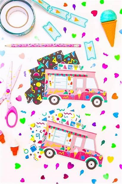 Ice Cream Truck Printable Party 90s Invites