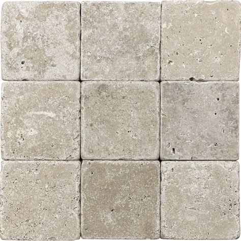 tumbled marble tile shop 9 pack 4 in x 4 in noce tumbled marble