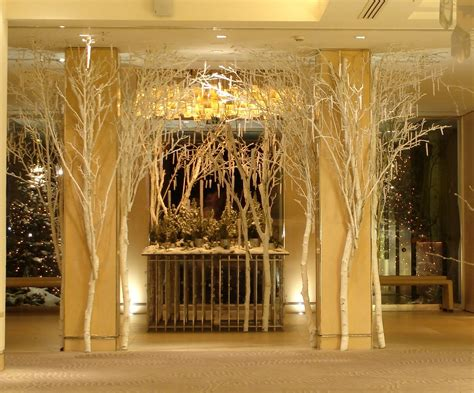 grove hotel christmas   silver birch trunks