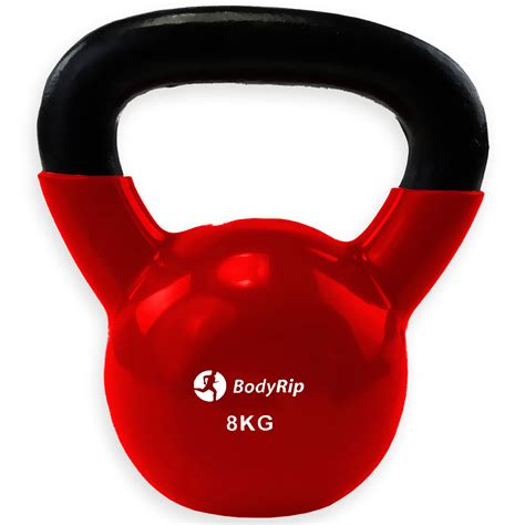 kettlebell 8kg kettle weights exercise bell fitness gym iron cast vinyl workout fantastic plastic bodyrip coating kg muscle train sport