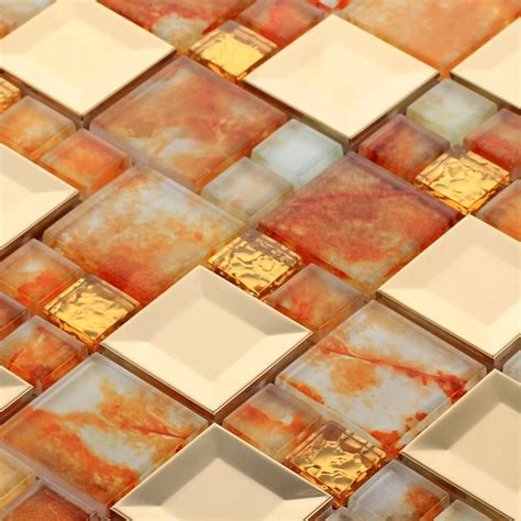 kitchen backsplash tiles for sale ehd2006 stainless steel mixed orange color glass mosaic