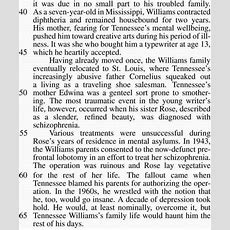 Act Reading Practice Test 61 Humanities  Tennessee Williams Celebrated Southern Gothic Writer