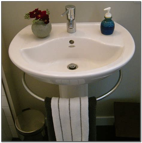 Porcher Pedestal Sink With Towel Bar  Sink And Faucets