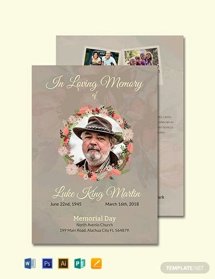 catholic funeral program invitation template word
