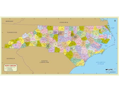 buy north carolina zip code map with counties online