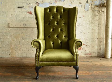 geneva green velvet chesterfield wing chair abode sofas