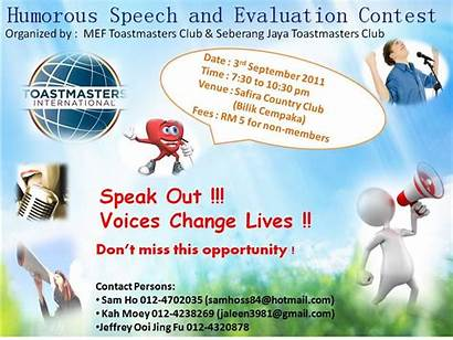 Evaluation Speech Toastmasters Contest Humorous Poster Why