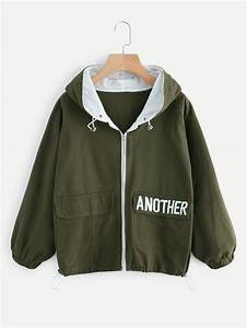 hooded letter embroidered drawstring hem jacket shein With letters for jackets